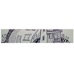 Doodle Drawing Texture Style Large Flano Scarf