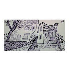 Doodle Drawing Texture Style Satin Wrap