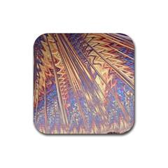Flourish Artwork Fractal Expanding Rubber Square Coaster (4 Pack)