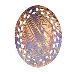 Flourish Artwork Fractal Expanding Oval Filigree Ornament (two Sides)