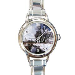 Winter Bach Wintry Snow Water Round Italian Charm Watch