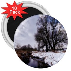 Winter Bach Wintry Snow Water 3  Magnets (10 Pack)
