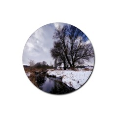 Winter Bach Wintry Snow Water Rubber Coaster (round)