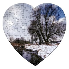 Winter Bach Wintry Snow Water Jigsaw Puzzle (heart)