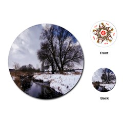 Winter Bach Wintry Snow Water Playing Cards (round)