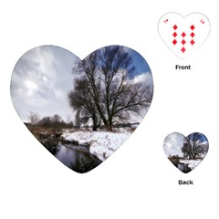 Winter Bach Wintry Snow Water Playing Cards (heart)