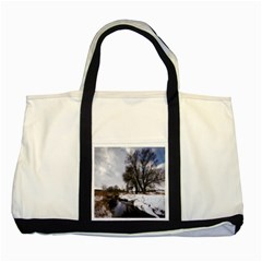 Winter Bach Wintry Snow Water Two Tone Tote Bag