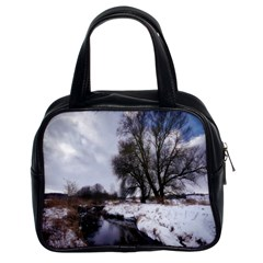 Winter Bach Wintry Snow Water Classic Handbags (2 Sides)