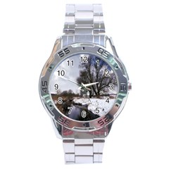 Winter Bach Wintry Snow Water Stainless Steel Analogue Watch