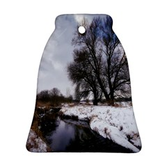 Winter Bach Wintry Snow Water Bell Ornament (two Sides)