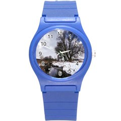 Winter Bach Wintry Snow Water Round Plastic Sport Watch (s)