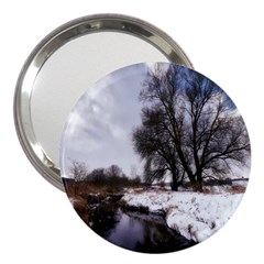 Winter Bach Wintry Snow Water 3  Handbag Mirrors