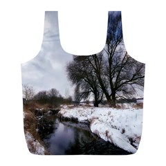 Winter Bach Wintry Snow Water Full Print Recycle Bags (l)