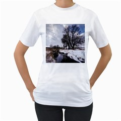 Winter Bach Wintry Snow Water Women s T Shirt (white)