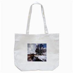 Winter Bach Wintry Snow Water Tote Bag (white)