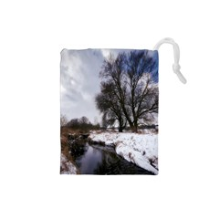 Winter Bach Wintry Snow Water Drawstring Pouches (small)