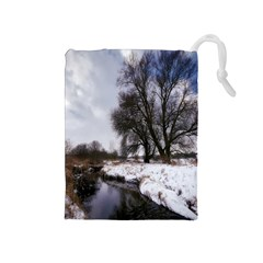 Winter Bach Wintry Snow Water Drawstring Pouches (medium)