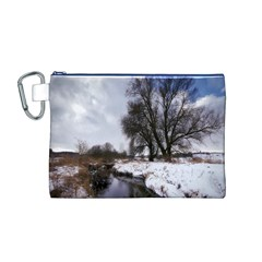Winter Bach Wintry Snow Water Canvas Cosmetic Bag (m)