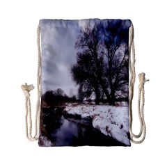 Winter Bach Wintry Snow Water Drawstring Bag (small)