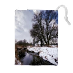 Winter Bach Wintry Snow Water Drawstring Pouches (extra Large)
