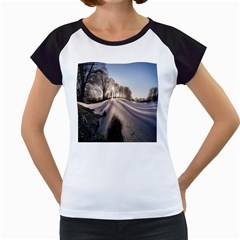 Winter Lake Cold Wintry Frozen Women s Cap Sleeve T