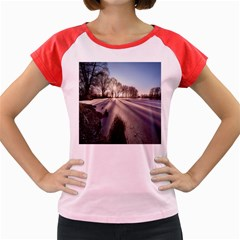 Winter Lake Cold Wintry Frozen Women s Cap Sleeve T Shirt