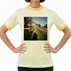 Winter Lake Cold Wintry Frozen Women s Fitted Ringer T Shirts