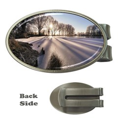 Winter Lake Cold Wintry Frozen Money Clips (oval)