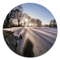 Winter Lake Cold Wintry Frozen Magnet 5  (round)