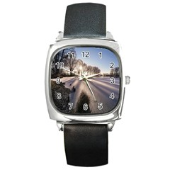 Winter Lake Cold Wintry Frozen Square Metal Watch