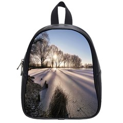 Winter Lake Cold Wintry Frozen School Bag (small)