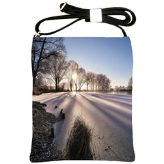 Winter Lake Cold Wintry Frozen Shoulder Sling Bags
