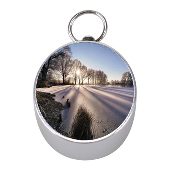 Winter Lake Cold Wintry Frozen Mini Silver Compasses