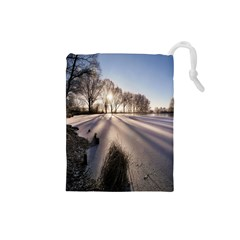 Winter Lake Cold Wintry Frozen Drawstring Pouches (small)