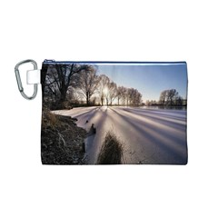 Winter Lake Cold Wintry Frozen Canvas Cosmetic Bag (m)