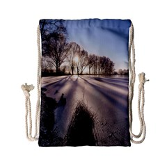 Winter Lake Cold Wintry Frozen Drawstring Bag (small)