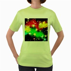 Star Abstract Pattern Background Women s Green T Shirt