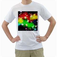 Star Abstract Pattern Background Men s T Shirt (white) (two Sided)