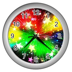 Star Abstract Pattern Background Wall Clocks (silver)