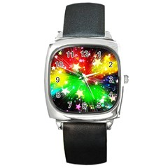 Star Abstract Pattern Background Square Metal Watch