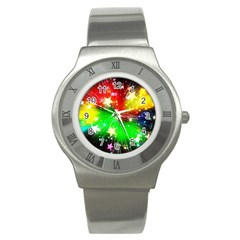 Star Abstract Pattern Background Stainless Steel Watch