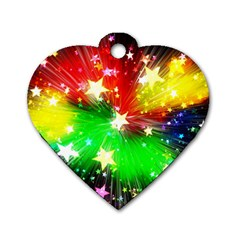 Star Abstract Pattern Background Dog Tag Heart (two Sides)