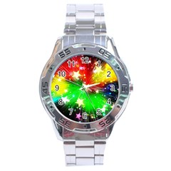 Star Abstract Pattern Background Stainless Steel Analogue Watch