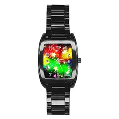 Star Abstract Pattern Background Stainless Steel Barrel Watch