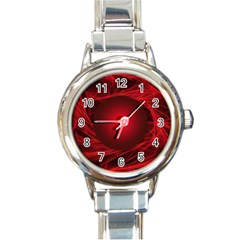 Abstract Scrawl Doodle Mess Round Italian Charm Watch