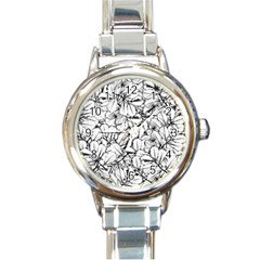White Leaves Round Italian Charm Watch