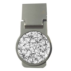 White Leaves Money Clips (round)