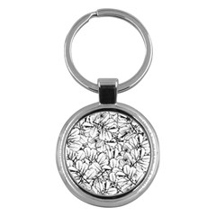 White Leaves Key Chains (round)