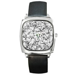 White Leaves Square Metal Watch