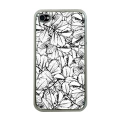 White Leaves Apple Iphone 4 Case (clear)